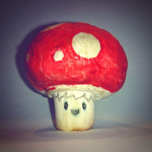 Pilz Champignon Fly Agaric Mushroom Fliegenpilz Dots Dotted Rot KAWAII Angemalt
