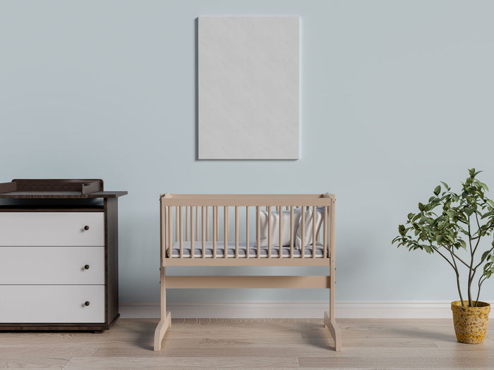 Mock up poster in baby bedroom. Table Seat Chair Indoors  Plant Empty Wall - Building Feature Potted Plant No People Wood - Material Furniture Absence Nature Copy Space Flooring Blank Day Growth Desk Houseplant Poster Baby Bedroom