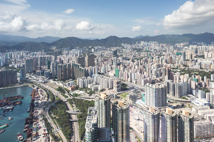 Hong Kong Cityscape. Aerial View Architecture Building Building Exterior Built Structure City City City Life Cityscape Cityscape Community Composition Day Development Façade Hk Hong Kong Human Settlement Landscape Outdoors Perspective Residential District Residential Structure Sky Top Perspective