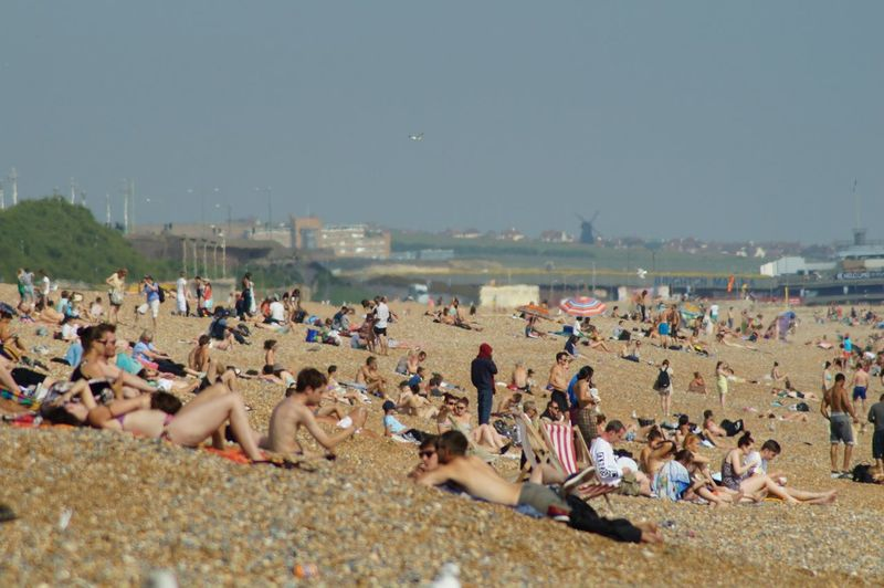 View of overcrowded beach