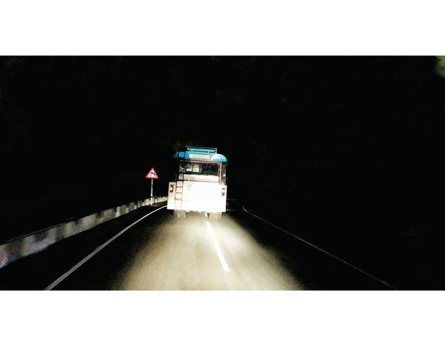 Bus Journey Into The Dark Journey Tirumala Hills Tirumala Tirupati Devasthanams Rainy Night Illuminated Road Moving Public Transportation