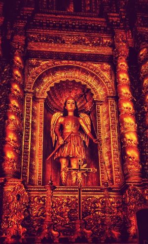 Statue Religion Indoors  Sculpture Gold Colored No People Spirituality Day Close-up Architecture