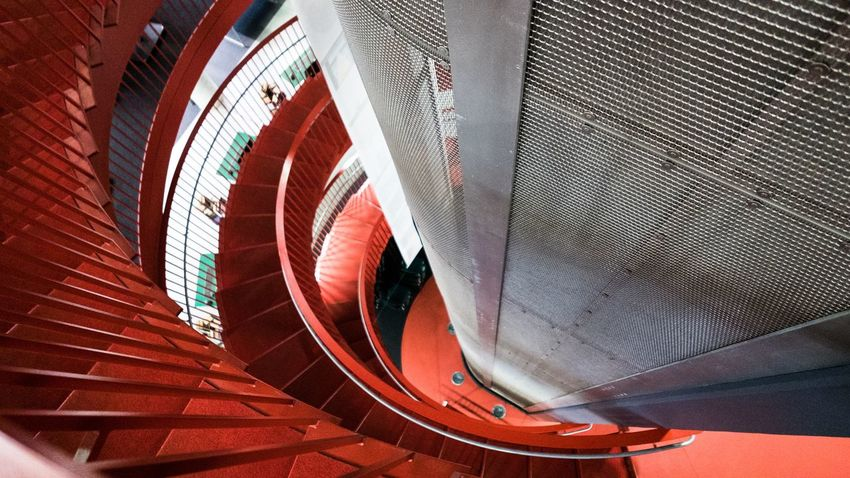 Steps Architecture Indoors  Steps And Staircases High Angle View Staircase Railing Hand Rail Red Spiral Stairs Curve Architectural Feature No People Coil