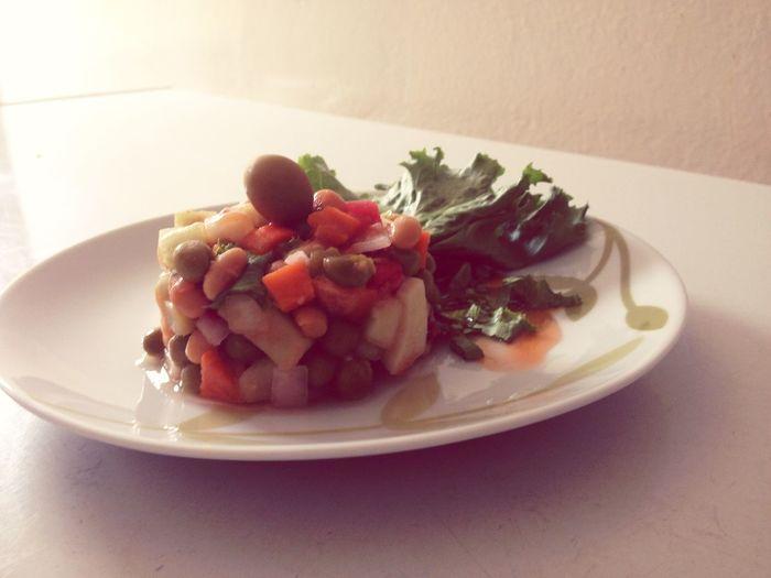 Perfecting my garnishing skills. Food Foodporn Olives Chef Potatoesalad Salad