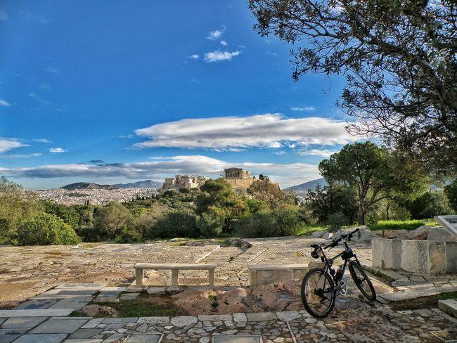 Resting Time Enjoying The View Parthenon Acropolis Acropolis, Athens Bicycle Cycling Hiking Athens Athens, Greece Sky Sky And Clouds Filopapou Mousson Hill The Week On EyeEm