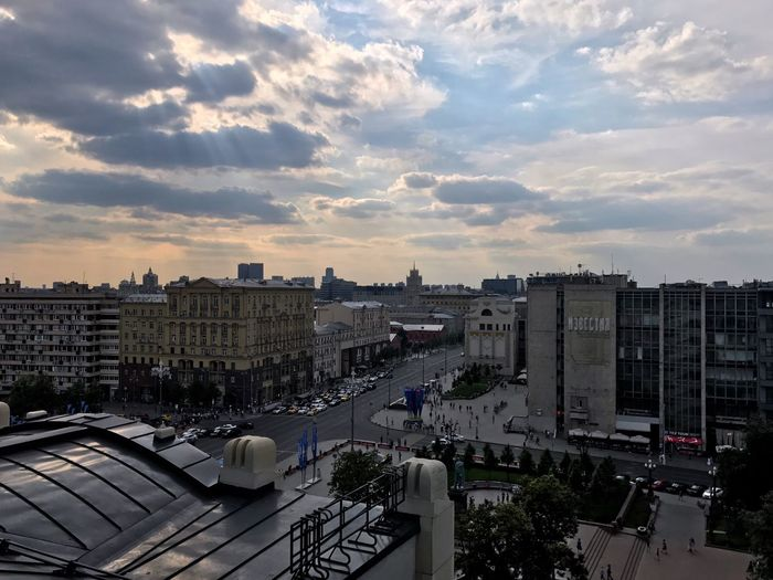 Moscow June 2018 Street Life Panoramic View Panoramic Photography Panoramic Panorama Urban Photography Urbanphotography Urban Landscape Urban Geometry Urban Skyline cityscapes City Street City View  City Life Cityscape Built Structure Building Exterior Architecture City Cloud - Sky Sky High Angle View Building Cityscape Car