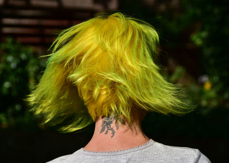 Rear view of woman with yellow hair