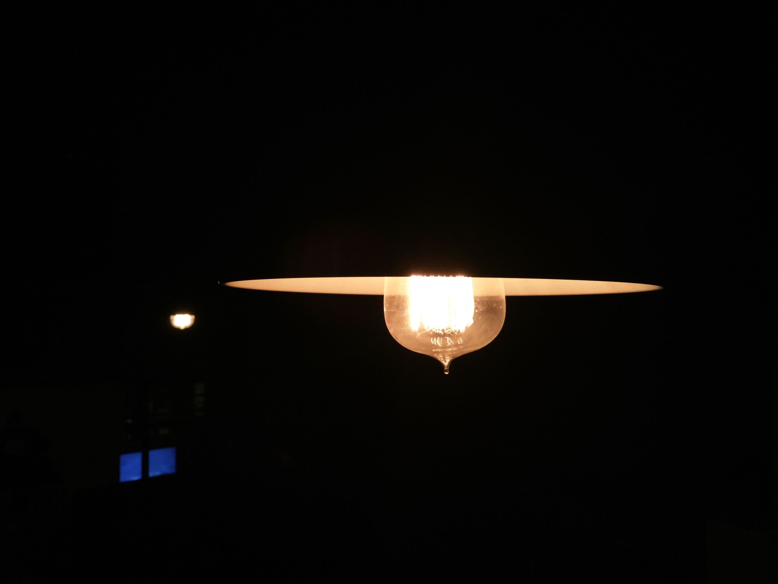 illuminated, low angle view, lighting equipment, night, copy space, glowing, dark, electricity, light bulb, electric lamp, lit, electric light, lamp, ceiling, clear sky, airplane, indoors, light - natural phenomenon, moon, air vehicle
