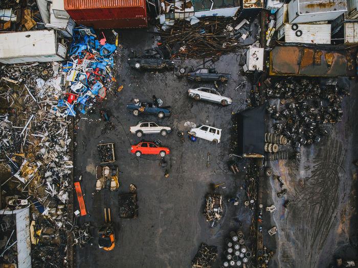 Aerial view of scrap metals