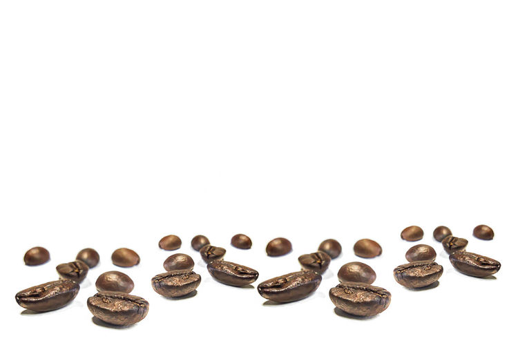 Close-up Coffee Bean Copy Space Large Group Of Objects No People Raw Coffee Bean Still Life Studio Shot White Background