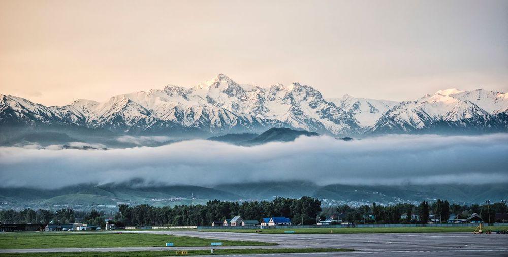Fine Art Photography Almaty Landscape Sunrise View Mountain Cloud Fog Snow Top Color Of Life
