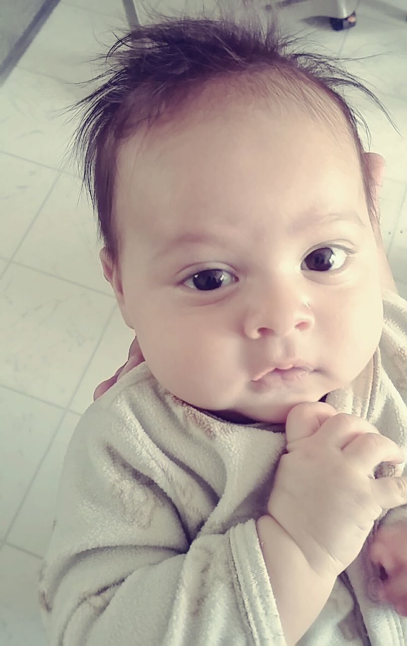 innocence, baby, babyhood, cute, childhood, real people, one person, close-up, indoors, looking at camera, headshot, day, portrait