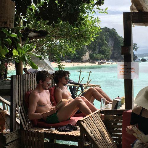 Boracay Man Sea Holiday Reading A Book