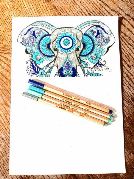 Mandala ArtTherapy Elephant Blublublu Loveit♥ Passion Colors Pencil Multi Colored Blue Close-up Pencil Drawing Drawing - Art Product Drawn Line Art Drawing