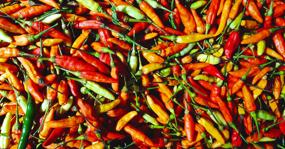 Full frame shot of red chili peppers for sale
