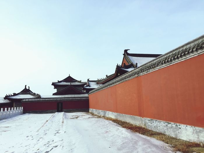 View of temple covered with snow