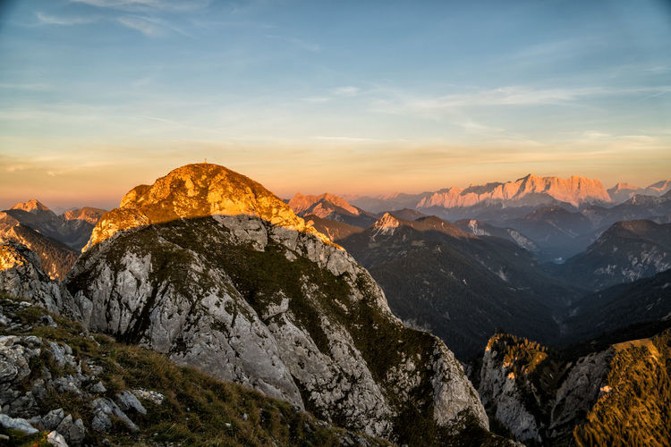 Alpenglow Alpenglow Height Formation High Solid Rock - Object Outdoors No People Idyllic Rock Non-urban Scene Tranquility Cloud - Sky Mountain Range Nature Landscape Scenics - Nature Environment Beauty In Nature Sky Mountain Sunset Alps Austria Tyrol Tranquil Scene Mountain Peak