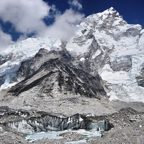 A beautiful scenery while trekking to Everest Base Camp. Part of the Khumbu glacier can be seen plus a beautiful back drop of a mountain. But i think its beside Lhotse. Give me a shout out if you know the name of the mountain? 😊 Would love to be back here again. (Update: The mountain is Nuptse 7861m) Traveltheworld Adventure Trekking Highaltitude Nepal Khumbu Himalaya Everestbasecamp Sagarmatha Ilovemountains Mountains Glacier Outside_project