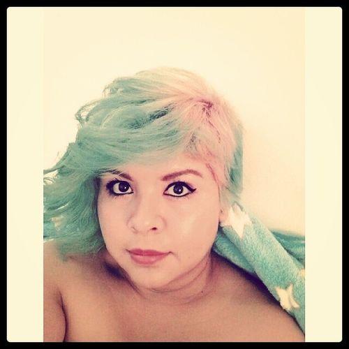 Finalmente mi cabello de sirena :) Ion Color Colorbrilliance Skyblue teal pink pastel diyhair diy
