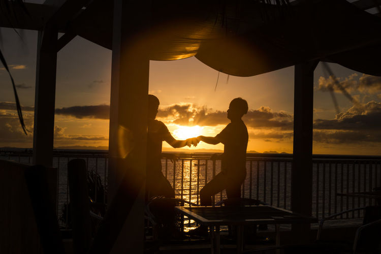 Balcony Beauty In Nature Cloud - Sky Freindship Horizon Over Water Men Outdoors Real People Sea Silhouette Sky Standing Sunset Togetherness Two People Be. Ready. EyeEmNewHere