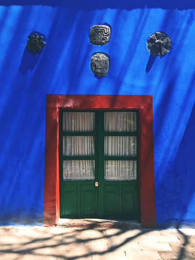 Architecture Blue Closed Day Door Entrance House Mexican Mexican Colors Mexican Culture Mexican Folklor Mexican Style Outdoors Patio Tree Shadow Wall