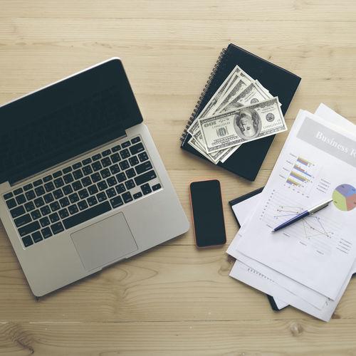 laptop, money