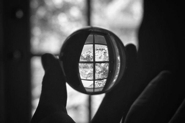 Window Indoors  Day Shadow Human Hand Close-up Blackandwhite Glass Sphere Perspective