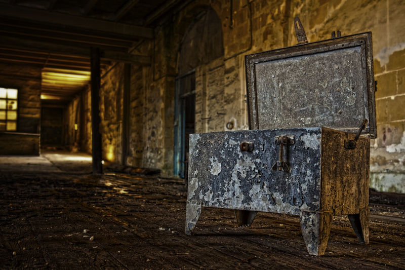 Pandora's box Abandoned Architecture Bad Condition Built Structure Close-up Damaged Day Indoors  No People Obsolete Old Old-fashioned Run-down Rusty Weathered