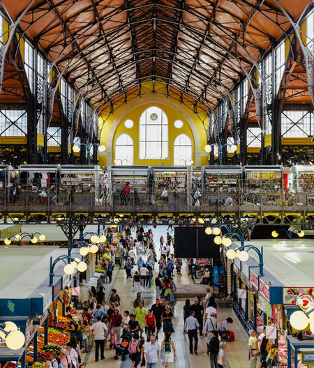 Great Market Hall in Budapest City Crowd Men Clock Arch Architecture Built Structure Travel