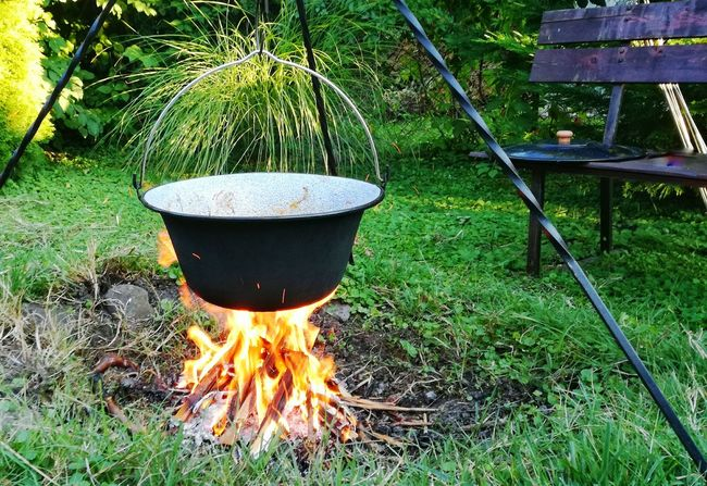 Backyard Bonfire Tourist Resort Outdoors Summer Cook  Cooking Campfire Cooking On Open Fire Cooking On Fire Hot Cauldron Fire Backyard Firepit Firepit Flames & Fire Garden Food Fire Art Cooking In Cauldron Campfire Art Day Vacations No People Glowing Grass