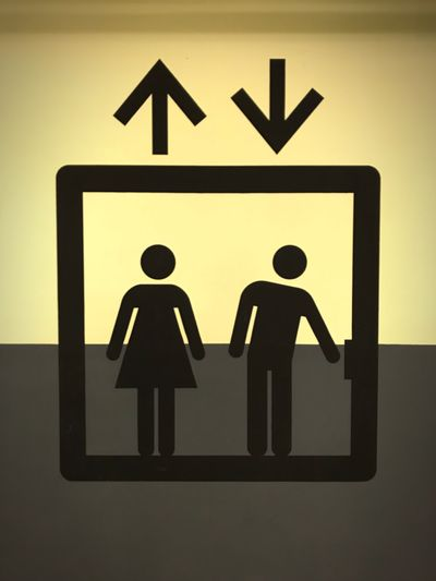 Lift Human Representation Communication Guidance Symbol No People Direction Way Showing Signs Guide Follow People Walking Design