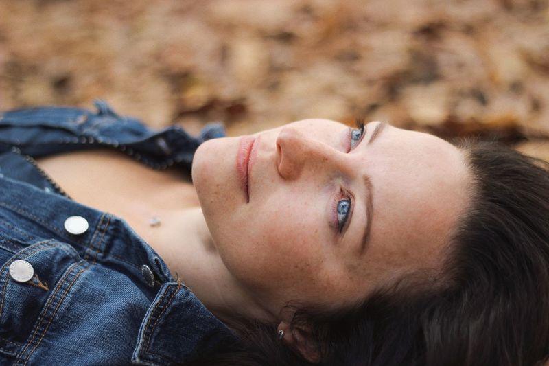 Portrait of woman lying down