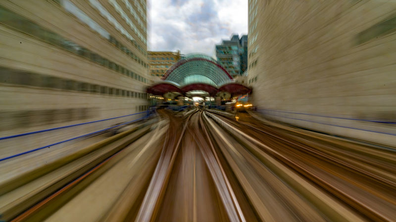 Driving into West India Quay station Architectural Feature Architecture Built Structure Business Defocused Diminishing Perspective DLR Docklands England Finance Illuminated On The Way London Modern Moving Multi Colored Need For Speed No People Public Transportation Rail The Way Forward Tourism Train Travel Destinations Vanishing Point