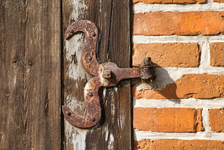Close-Up Of Weathered Door On Wall