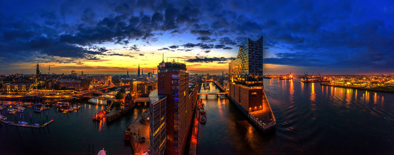 Sunrise in hamburg with view of the elbe philharmonic hall