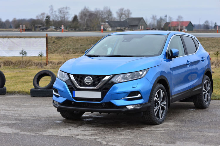The new Nissan Qashqai 2018 is light blue. 2018 New New Model Nissan SUV Blue Car Day Land Vehicle Mode Of Transport No People Outdoors Qashqai Road Sky Transportation