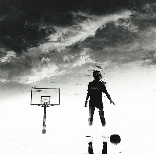 Streetphotography Lonely Life Playing Basketball Play Basketball Black And White Black & White Black And White Photography Black And White Collection  My Friend Cool Boy Cool Frendship Vacation Vacation Time After Rain Reflection Reflection_collection Water Reflection People And Places