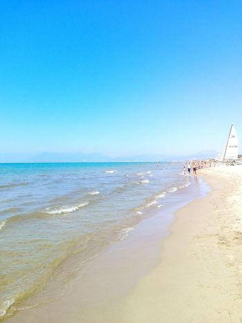 Beach Clear Sky Horizon Over Water Water Eboli Summer2016 Beauty In Nature Non-urban Scene Day Wave Calm Beauty In Nature Copy Space Sand