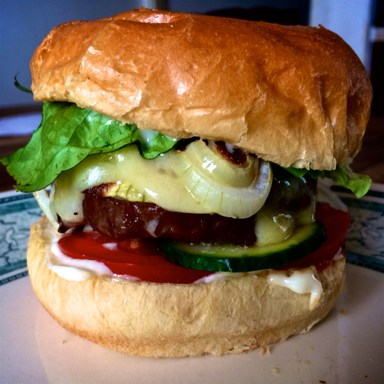 burger, food and drink, food, close-up, indoors, hamburger, sandwich, unhealthy eating, bread, ready-to-eat, bun, freshness, lettuce, no people, fast food, day