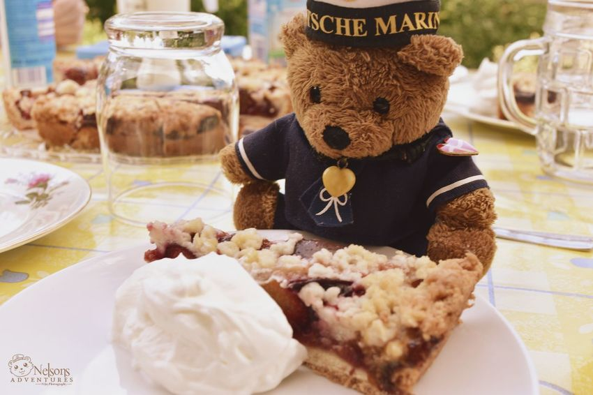 NelsonsAdventures Teddy Bear Teddy Teddybear Stuffed Toy Table Food And Drink Sweet Food Plum Pie Pie Summer Leisure Activity Coffee Table Eating Outside Summertime Lifestyles Garden Eating Coffee Time Cake Time Cake Food Enjoying Life Temptation Close-up