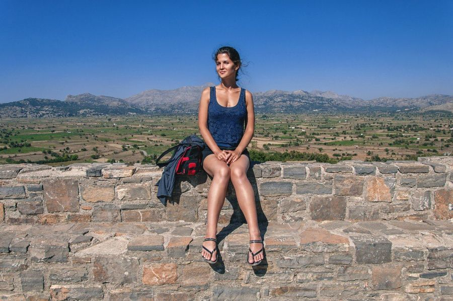 Portrait Woman Holidays Greece Crete Landscape Young Women Outdoors Day Excurcion Plateau One Woman Only Nature Young Adult One Person Only Women Adults Only Adult People Full Length High Heels Human Body Part Beautiful Woman One Young Woman Only Sky