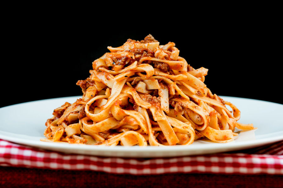 Dinner Lunch Spaghetti Black Background Bolognese Close-up Day Delicious Food Food And Drink Freshness Indoors  Indulgence Meat No People Pasta Plate Ready-to-eat Studio Shot