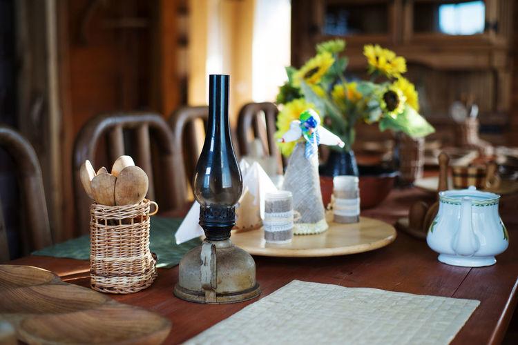 Lighting equipment on table in restaurant