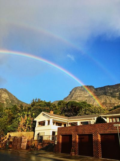 Rainbow over Table Mountain, Cape Town. Architecture Beauty In Nature Blue Building Exterior Built Structure Day Double Rainbow House Mountain Nature No People Outdoors Rainbow Scenics Sky Tranquil Scene Tranquility Tree