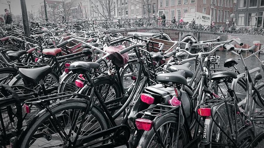 Bicycle Transportation Mode Of Transport Land Vehicle Parking Stationary Bicycle Rack Cycling City Outdoors Parking Lot No People Day Amsterdam Canal Amsterdam
