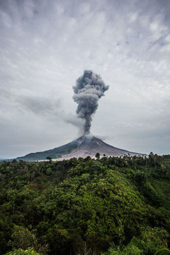 Mount Sinabung at North Sumatra, Indonesia erupts ASIA Ash Beauty In Nature Environment Erupting Geology Gunungsinabung Land Mountain Mountain Peak Nature No People Power In Nature Ringoffire Sky Smoke - Physical Structure Volcanic Crater Volcano