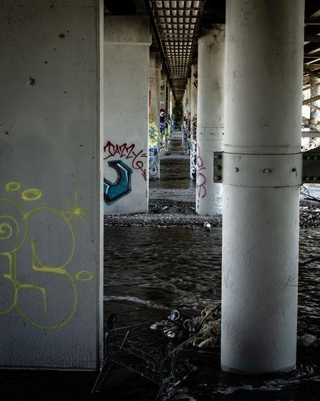 Graffiti on bridge by wall