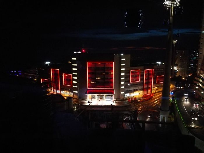 Chinese New Year New Year 2018 Night Light High Angle View Cable Car Night Illuminated Nightlife No People Red Accidents And Disasters Neon