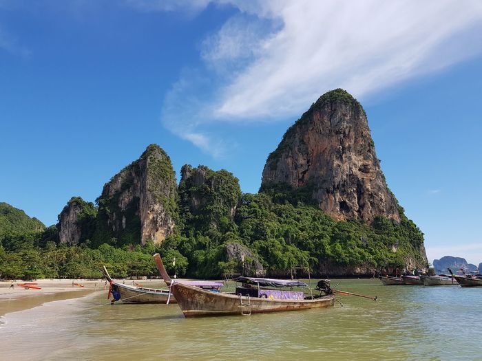 Railay Beach, Thailand Samsungphotography Boat Clouds And Sky Cloud - Sky ASIA Mobile Photography Thailand Beach Water Nautical Vessel Sky Transportation Mode Of Transportation Waterfront Nature Beauty In Nature Day Sea Mountain