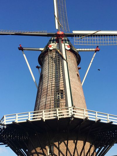 Windmill Dutch Wicks Blue Sky Bricks Early 20th Century Traditional Culture Detail High Contrast Brabant Bird
